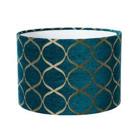 image-70cm Velvet Drum Lamp shade Fairmont Park Size: 20cm H x 25cm W x 25cm D, Colour: Teal