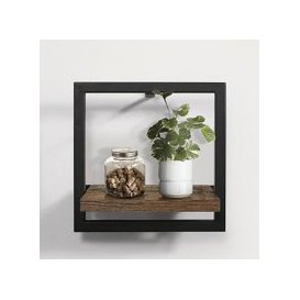 image-Coruna Small Floating Wall Shelf In Rustic And Metal Frame