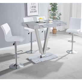 image-Vienna Gloss Bar Table In Diva Print With 4 White Ripple Stools