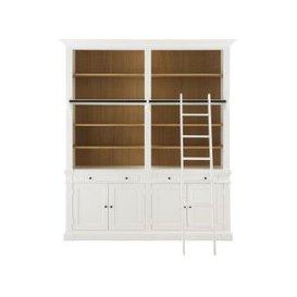image-4-Door 2-Drawer Bookcase with White Ladder Versailles