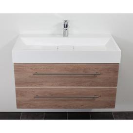 image-Design 900mm Wall Mount Vanity Unit Belfry Bathroom Base Finish: Light Oak