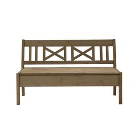 image-Alston Wooden Storage Bench August Grove Colour/Finish: Leach-coloured/Leach-coloured, Armrests: Armless