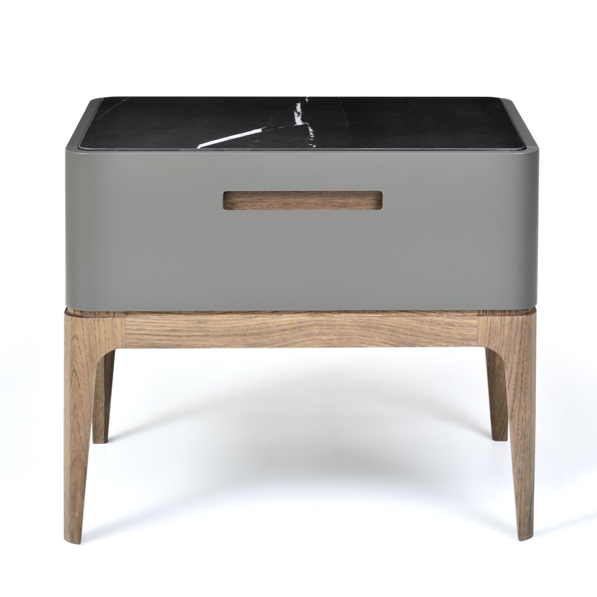 image-Eclipse Bedside Table 50cm, Marble-effect Ceramic Top, Grey