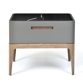 image-Eclipse Marble-effect Ceramic Top Bedside Table 50cm , Grey