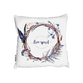 image-Palmore Watercolor Boho Wreath Cushion with Filling Bloomsbury Market