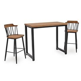image-Hinrik Wooden Bar Table With 2 Blake Bar Stools In Natural Elm