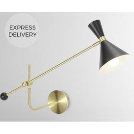 image-Axton Swing Arm Wall Lamp, Black & Brushed Brass