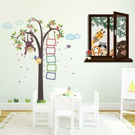 image-Nursery Monkey Height Measure with Window View of Animal Friends Wall Sticker Set East Urban Home
