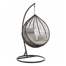 image-Cetoa Wooden Hanging Chair With Metal Frame In Black