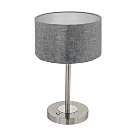 image-Eglo 95352 Romao LED Table Lamp In Nickel And Chrome With Grey Shade