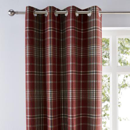 image-Melrose Woven Check Red Eyelet Curtains Red