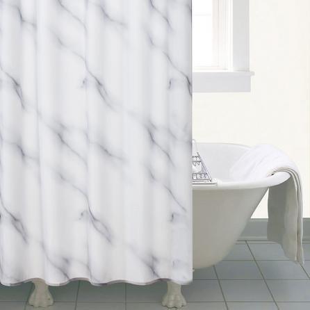 image-Marble Shower Curtain Black & White