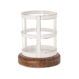 image-Distressed Pine, White Metal and Glass Candle Holder