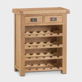 image-Cotswold Wine Rack Oak 4 Shelf 2 Drawer