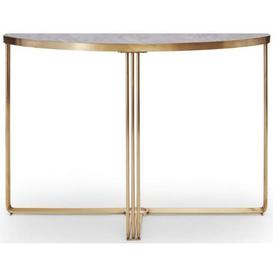 image-Gillmore Space Finn Dark Stone Laminate and Brass Brushed Half Moon Console Table