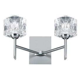 image-Searchlight 4342-2-LED Ice Cube Two Light LED Wall Light In Satin Silver With Clear Glass