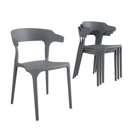 image-Novogratz Poolside Collection Felix Indoor/Outdoor Charcoal Grey Stacking Dining Chairs 4-Pack