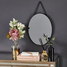 image-Oval Hanging Smoked Mirror Smoked