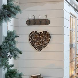image-Battery Operated Indoor and Outdoor PVC Rattan Heart Shaped Christmas Decoration Figurine August Grove