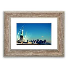 image-'New Yorks Statue of Liberty' Framed Graphic Art East Urban Home Size: 50 cm H x 70 cm W, Frame Options: Walnut