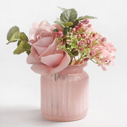image-Artificial Roses Arrangement in Pink Vase 15cm Pink
