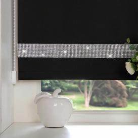 image-Diamante Blackout Roller Blind Rosdorf Park Size: 90cm x 165cm, Finish: Black