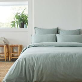 image-Brushed Cotton Duvet Cover Isabelline Colour: Green, Size: Kingsize