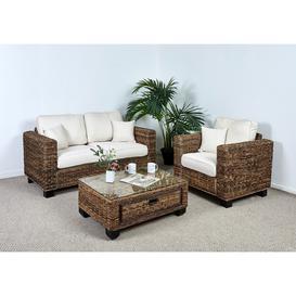 image-Conservatory 2 Seat Large Sofa Set - 1x Sofa, 1x Armchair, 1x Medium Coffee Table in Oatmeal - Kensington Abaca