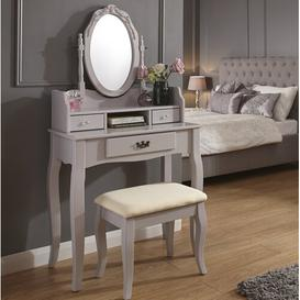 image-Arnold Dressing Table Set with Mirror Three Posts Colour: Grey