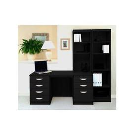image-Small Office Desk Set With 4+3 Drawers & Bookcases (Black Havana)