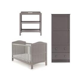image-Obaby Whitby Cot Bed 3 Piece Nursery Set in Taupe Grey