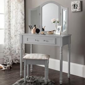 image-Aden Dressing Table Set With Mirror Lily Manor Colour: Grey