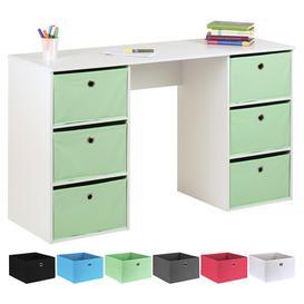 image-Hartleys Kids White Storage Desk & 6 Easy Grasp Box Drawers - Mint