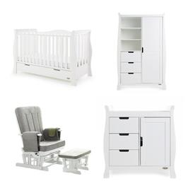 image-Stamford Luxe Cot Bed 4-Piece Nursery Furniture Set Obaby Colour: White