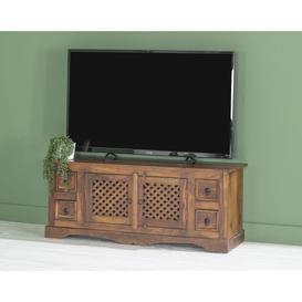 image-Jali Indian Sheesham Wood 124cm Plasma Media TV Cabinet