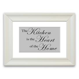 image-'The Kitchen Is the Heart of the Home' Framed Typography in Light Grey East Urban Home Size: 50 cm H x 70 cm W, Frame Options: Matte White