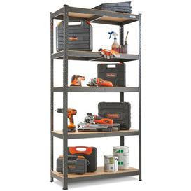 image-Tanja 5 Tier Garage Shelving ? Metal Racking, Steel & MDF Boltless Shelves - Massive 875kg Capacity 175KG per Shelf  180cm H 90cm W 40cm D Symple Stu