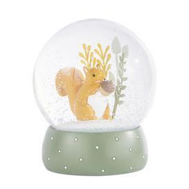 image-Orange and green squirrel snow globe