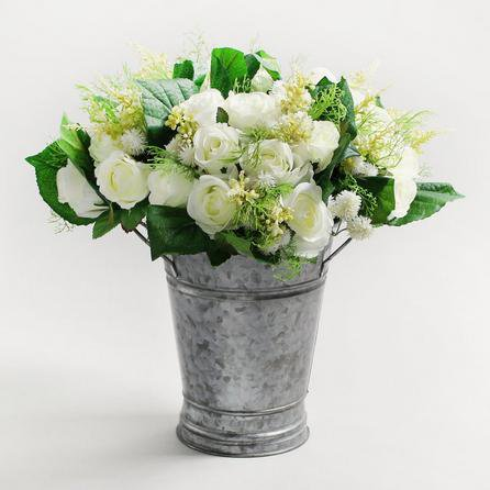 image-4pk Artificial Rose and Heather Cream Bouquet 30cm Cream