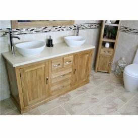 image-Degraw Solid Oak 1430mm Free-Standing Vanity Unit Belfry Bathroom Top Finish: Cream