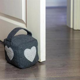 image-Heart Herringbone Fabric Floor Door Stop and Draught Set Nicola Spring