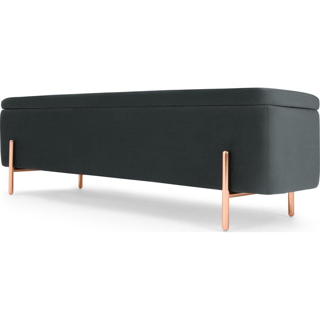 image-Asare 150cm Ottoman Storage Bench, Midnight Grey Velvet