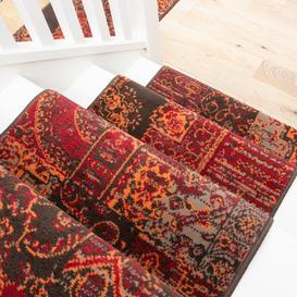 image-Red Patchwork Stair Carpet Runner - Cut to Measure
