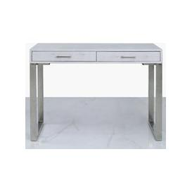 image-Enna Silver Faux Stingray Leather 2 Drawer Console Table