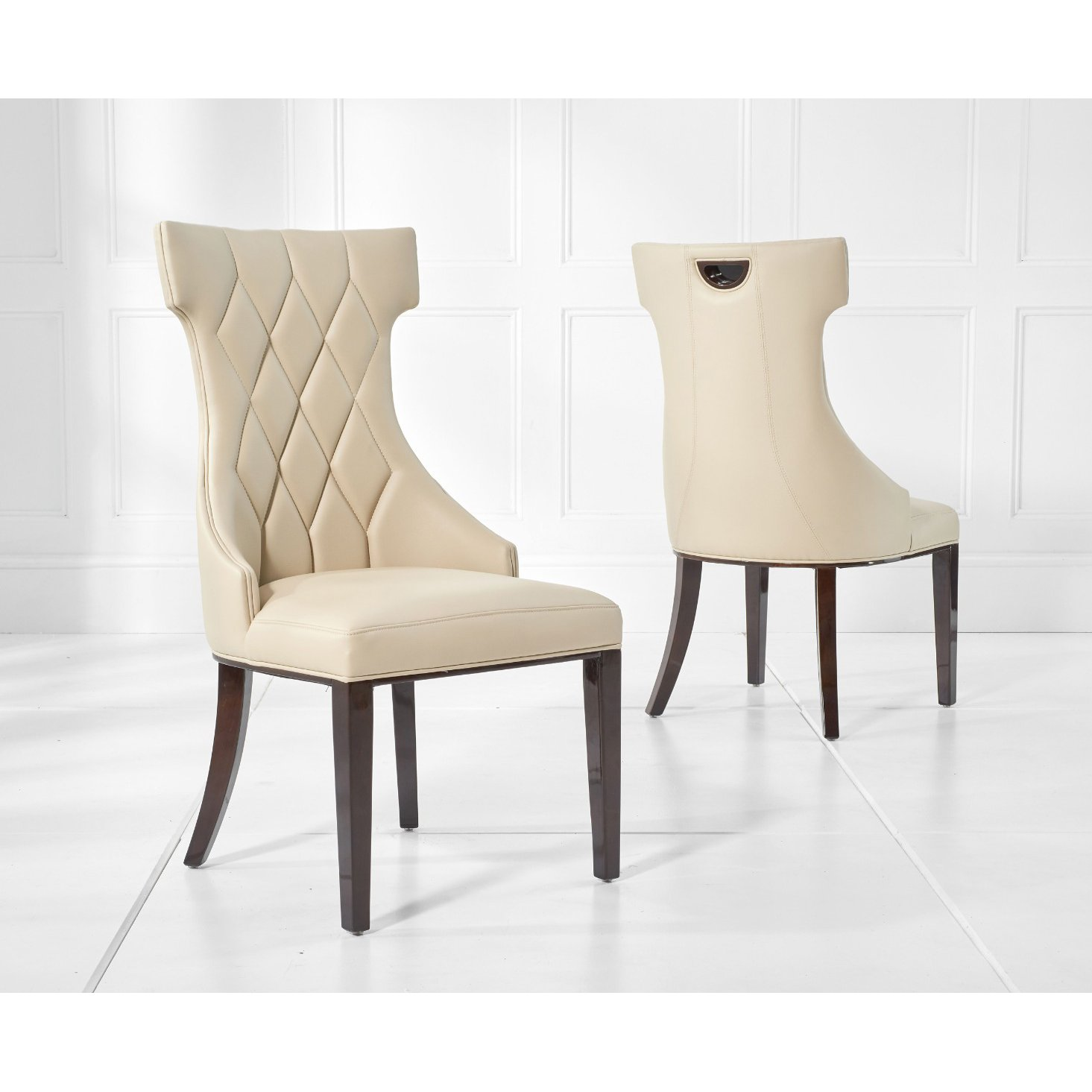image-Freya Cream Faux Leather Dining Chairs