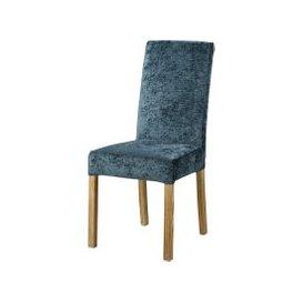 image-Storm Blue Velvet Chair Cover