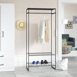 image-Wetherby 77cm Wide Metal Clothes Rack with 3 Shelves Symple Stuff