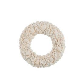image-Shell Artificial Wreath House of Hampton Size: 20cm H x 20cm W x 4cm D, Colour: White