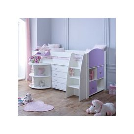 image-Rondo E Childrens Midsleeper Bed with pull out Desk, Storage and Chest