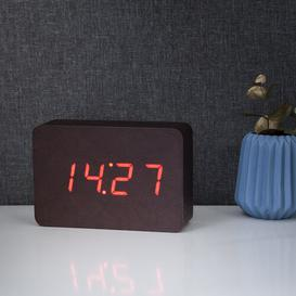 image-Modern Digital Birch Solid Wood Electric Alarm Tabletop Clock Symple Stuff Finish: Leatherette/Red